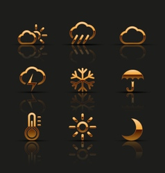 Golden weather icons set vector image