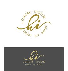 H i handdrawn brush monogram calligraphy logo vector
