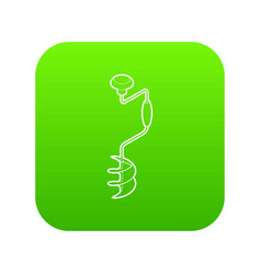 Hand fishing ice drill icon green vector