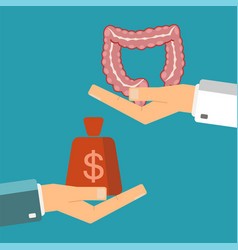 hand patient with money and a human intestine vector image