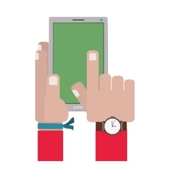 Hands touching a smartphone screen vector