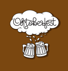 handwritten text oktoberfest beer mug and froth vector image
