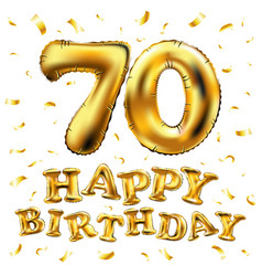 happy birthday 70th celebration gold balloons and vector image