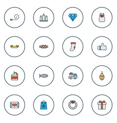 happy icons colored line set with glove cake vector image