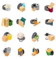 Hazardous waste icons set isometric style vector