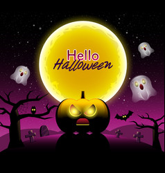 hello halloween scary night backgrounds vector image