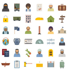 Illegal immigrants icons set flat isolated vector