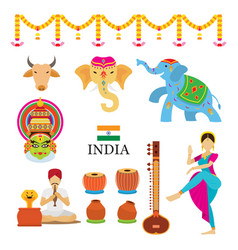 india objects icons set vector image
