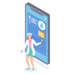 laboratory assistant chat with patient online vector image