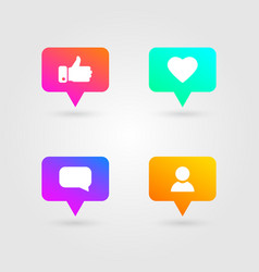like thumbs up and love icons set social media vector image