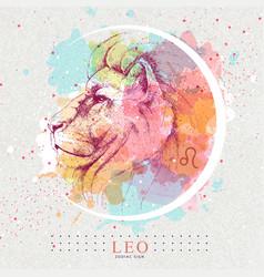 Magic card with astrology leo zodiac sign vector