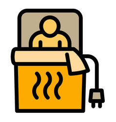 man electric blanket icon outline style vector image