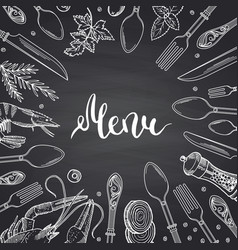 Menu background on black chalkboard vector