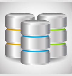 Metal cylinder webhosting server mainframe vector