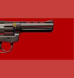 new classic revolver on red vector image