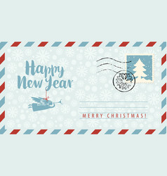 new year envelope with angel snowflakes and fir vector image