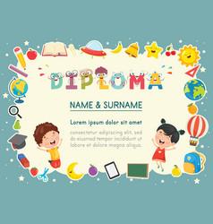 Of preschool kids diploma vector