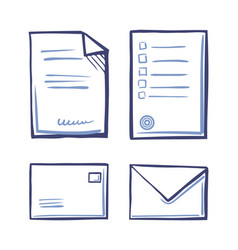 office papers envelopes closed and open isolated vector image