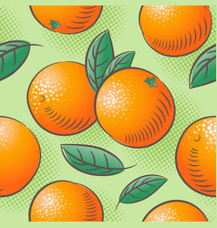 oranges seamless pattern ripe fruits with leaves vector image