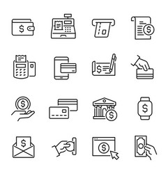 Payment methods money transactions icons vector
