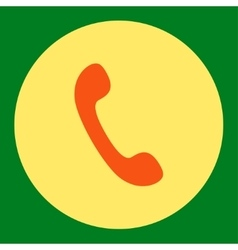 Phone flat orange and yellow colors round button vector