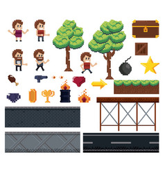 pixelated characters and elements for videogames vector image
