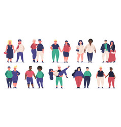Plus size couples fat attractive male and female vector