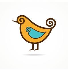 Pretty funny yellow bird vector