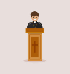Priest giving speech from tribune vector