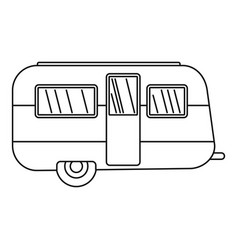 Retro travel trailer icon outline style vector
