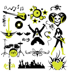 Rock music design elements vector
