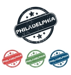 Round Philadelphia city stamp set vector image