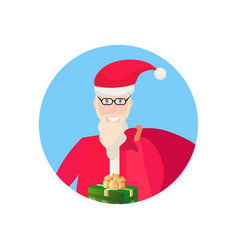 santa claus holding gift box face avatar happy new vector image