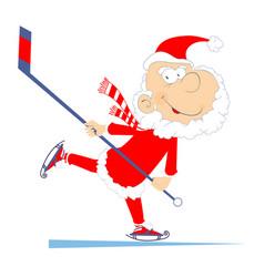 Santa claus plays ice hockey isolated vector