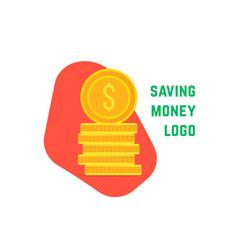 saving money logo with stack coin vector image
