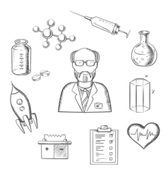 Scientist and science research sketch icons vector image