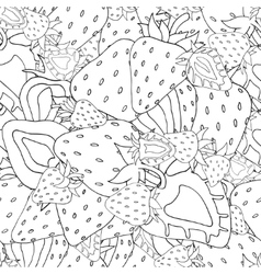 Seamless pattern Set of monochrome strawberries vector image