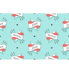 Seamless pattern with hearts and arrows vector