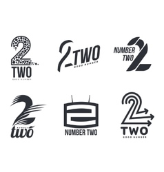 Set of black and white number two logo templates vector