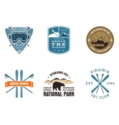 Set of ski club national park labels vintage vector
