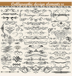 Set of vintage calligraphic design elements vector