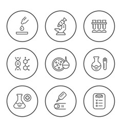 Set round line icons of medical analysis vector