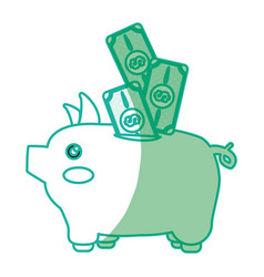 silhouette cute pig to save cash money vector image