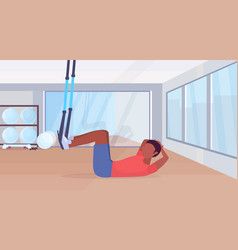 Sporty man doing sit-ups abdominal exercises with vector