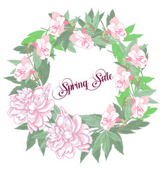 spring sale background with flowers vector image