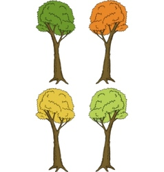 Spring Summer and Autumn Trees vector image