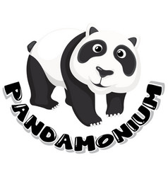 sticker design for word pandamonium with cute vector image