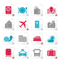 stylized travel transportation and vacation icons vector image