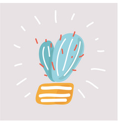 succulent cactus hand-drawn object vector image