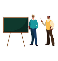 Teachers couple with chalkboard characters vector